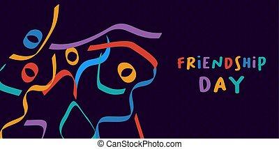 kleurrijke, vrienden, abstract, vriendschap, dag, kaart