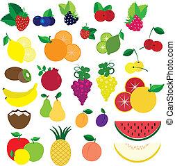 kleurrijke, vruchten, en, besjes, vector