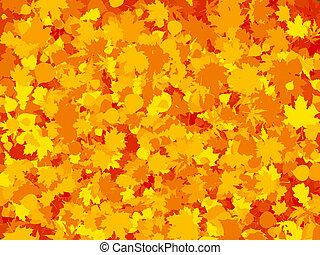 kleurrijke, warme, herfstblad, achtergrond., eps, 8