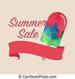 kleurrijke, watercolor, textuur, vector, popsicle, zomer, verkoop, bevordering, spandoek, titel, mal