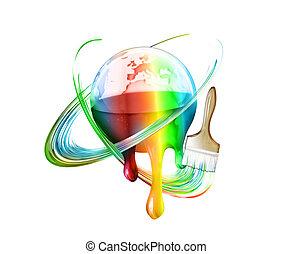 kleurrijke, wereld
