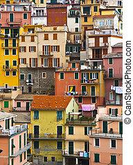 kleurrijke, woning, frontings, vormen, een, mooi,...
