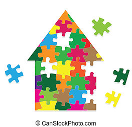 kleurrijke, woning, raadsel, jigsaw, vector, achtergrond