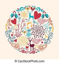kleurrijke, zalige kerst, cirkel, vorm, met, reindeers, en, liefde, communie, composition., eps10, vector, bestand, georganiseerd, in, lagen, voor, gemakkelijk, editing.