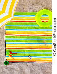 kleurrijke, zet op het strand deken, met, geitje, items