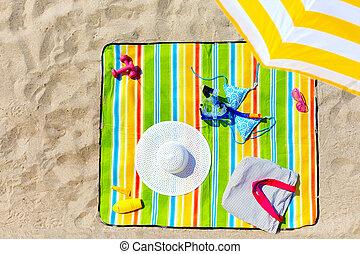 kleurrijke, zet op het strand deken, met, vrouw, items