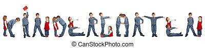 kleuterschool, vervaardiging, collage, woord, kinderen