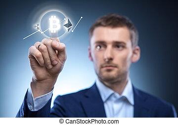 klickar, screen., man, ikon, virtuell, bitcoin