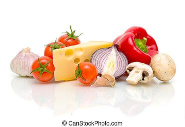 klidný, life., sýr, a, vegetables.