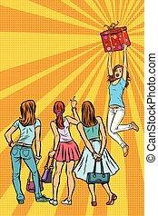 klienci, dziewczyna, patrzeć, dar, kobiety