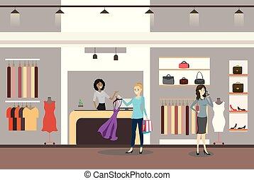 klienci, kasjer, samica, kobiety
