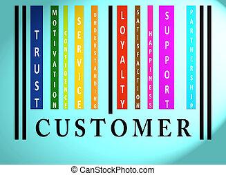 klient, barcode, słowo, barwny