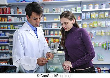 klient, farmaceuta, doradzając, apteka