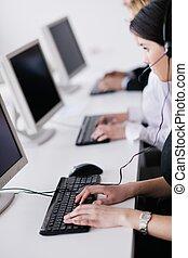 klient, grupa, handlowy, pracujące ludzie, helpdesk, biuro
