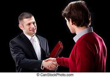 klient, handgeben