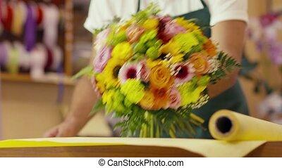 klient, intratny, kwiaciarka, z, karta