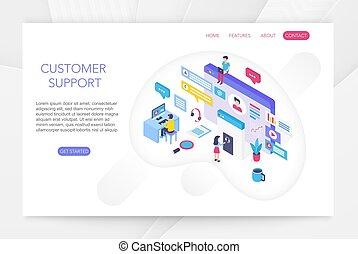 klient, isometric, poparcie, interacting, służba, pomoc, techniczny, pojęcie, ekran, ludzie, faktyczny, charts., wektor, online, infographics, 3d, konsument, illustration.