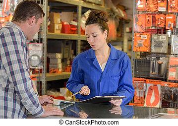 klient, kantor, pracownik, samica, magazyn, assiting