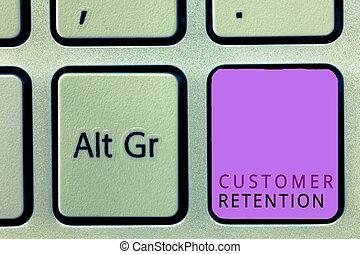klient, keeping, pojęcie, słowo, retention., handlowy, tekst, klientela, pisanie, lojalny, dużo, zachować, możliwy