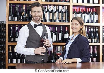 klient, kelner, kantor, portret, czerwone wino