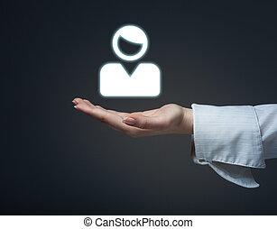 klient, klientela, kobieta, tarcza, ręka, concept., tło., audiencja, utrzymywać