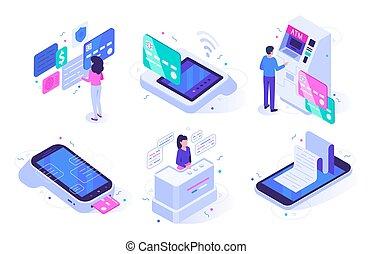 klient, kupować, isometric, komplet, cashier., atm, gotówka, ilustracja, zbyt, terminal, klienci, wektor, wylot, online, checkout, rejestr