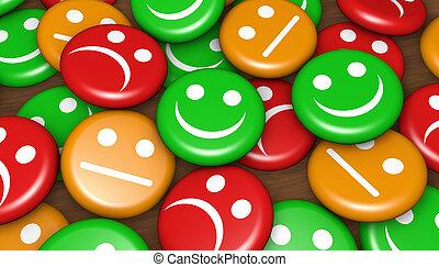 klient, ofuknięcie, sprzężenie zwrotne, służba, szczęśliwy