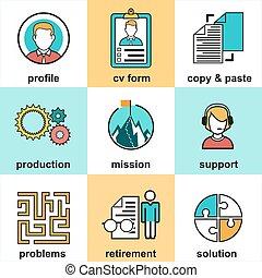 klient, płaski, elementy, handlowy, powodzenie, ikony, służba, klient, projektować, poparcie, kreska, management.
