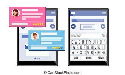 klient, płaski, sprzężenie zwrotne, zaświadczenie, tabliczka, rewizja, odizolowany, ilustracja, bubbles., klient, mowa, vector., concept., service.