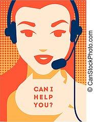 klient, słuchawki, poparcie, poster., środek, komunikacja, ...