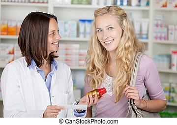 klient, samica, farmaceuta, młody, blond