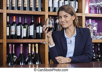 klient, samica, kantor, szkło, dzierżawa, czerwone wino