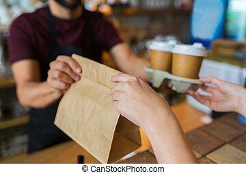 klient, sklep, kawa, służąc, kelner, albo, człowiek