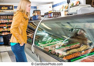 klient, sklep, mięso, rzeźnicki, wybierając