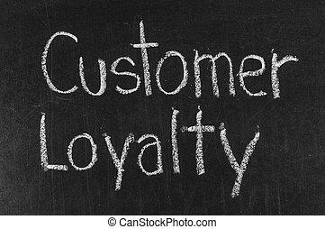 klient, tablica, lojalność, wysoki, pisemny, tło, rozkład