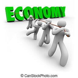 klientela, finansowy, pracownicy, wzrost, słowo, ekonomia, ciągnięty, ulepszać