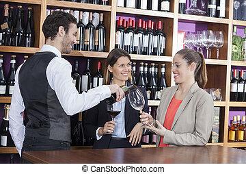 klientela, służąc, kelner, samica, czerwone wino