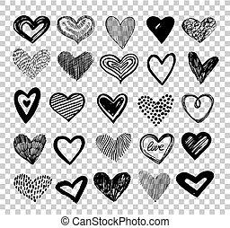 klikyháky, hearts., rukopis, nahý, dělat velmi rád jádro,...