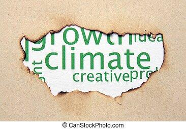 klima, tekst, på, avis, hul