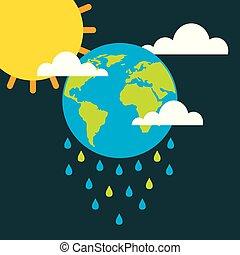 klima, wolkenhimmel, sonne, regen, erde, tropfen, änderung