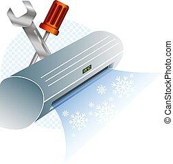 klimaanlage, reparatur, und, wartung