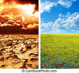 klimaat, concept, -, globaal verwarmend