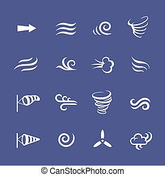 klimaat, iconen, natuur, weer, wind, koel