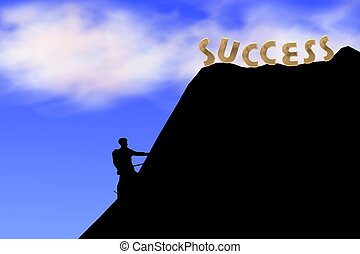 klimmen, heuvel, succes
