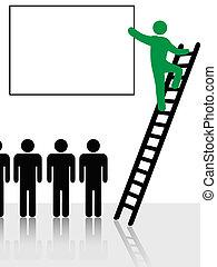 klimmen, mensen, ladder, achtergrond, meldingsbord