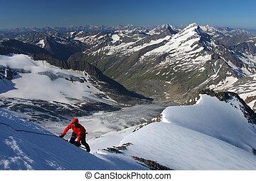 klimmer, oplopend, sneeuw, helling, in, de, oostenrijkze bergen