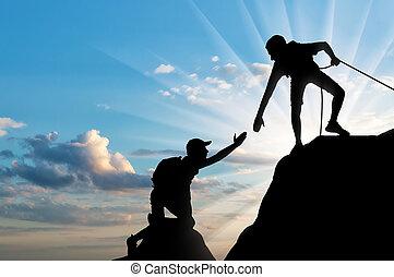 klimmer, zijn, silhouette, geven, hand, portie, obstakel, partner, mannelijke , order, overwinnen