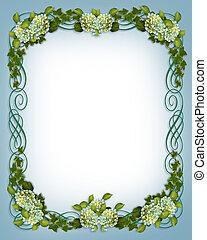 klimop, hortensia, grens, trouwfeest