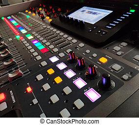 klingen, konsole, ausrüstung, hintergrund, musik, professionell