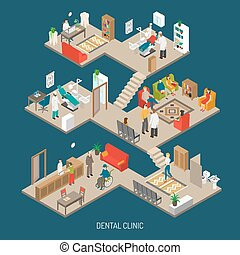 kliniek, isometric, concept, spandoek, dentaal